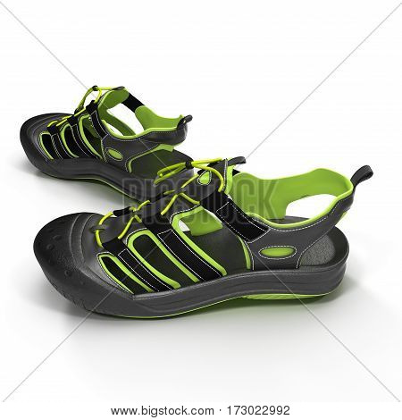 Summer green sneakers isolated on white background. 3D illustration