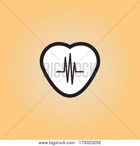 Heart monitor flat vector icon. Pulse monitor isolated vector illustration. Heartbeat vector symbol.