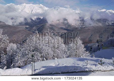 North slope Aibga Ridge of Western Caucasus at ski resort Gorky Gorod