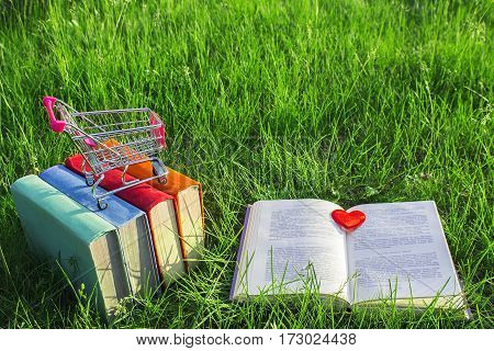 Stack of multicolored old books and open book on the grass at nature small cart outdoor office. E-book library and bookstore concept. Business ideas. The love of books. Buying books. Close-up view.