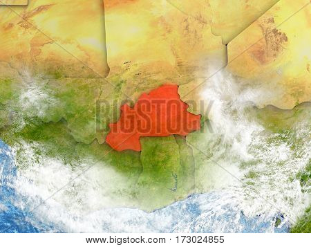 Burkina Faso On Map With Clouds