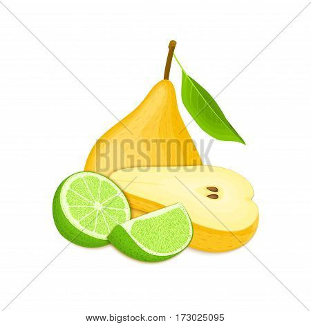 Vector composition of a few yellow pears and citrus lime. Yellow pear fruits and tropical lime. Group of tasty ripe fruit for design of juice, breakfast, healthy food, vegan eat on white background