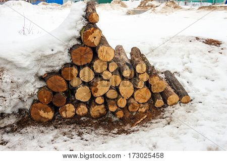 A small stack woodpile covered with snow
