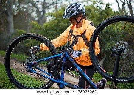 Female biker repairing mountain bike in countryside