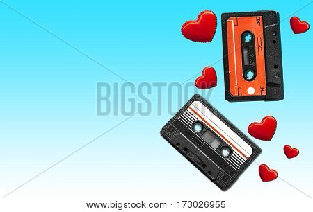 Old audio cassette. Multicolored audio tapes. Close-up view. The concept of old music. The era of retro songs. Isolated objects. The music of yesteryear.