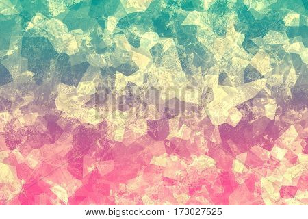 Cracked colorful texture. Multicolored surface with scratches. Abstract background. Mosaic composition. Polygon shapes and geometric elements.