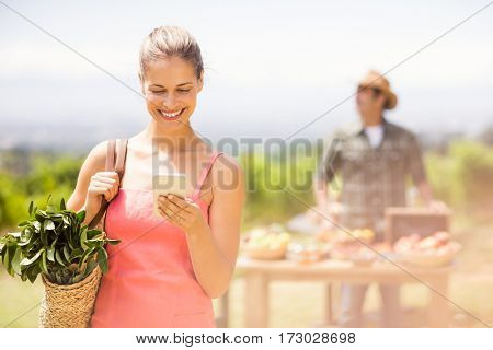 Female customer using mobile phone in front of vegetable stall at local market