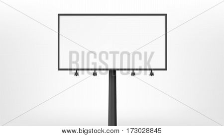 Billboard advertising panel with empty space and light projectors isolated over on background