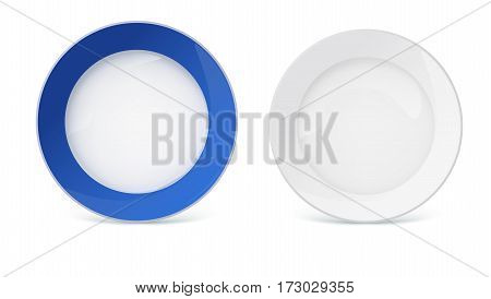 Porcelain plates with reflexes and reflections on white background, closeup. White plate without pattern and platter with a blue border