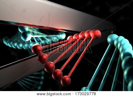 DNA strand in metal color cut by a scissor 3d render
