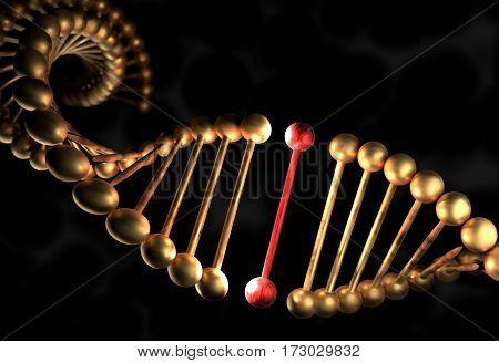 The DNA molecule with defective gene 3d render