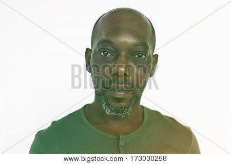 African Male Serious Face Expression Studio Portrait
