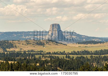 Devils Tower viewed from several miles away in Wyoming.