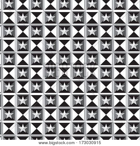 black white and silver shade triangles and square edge with stars pattern background vector illustration image