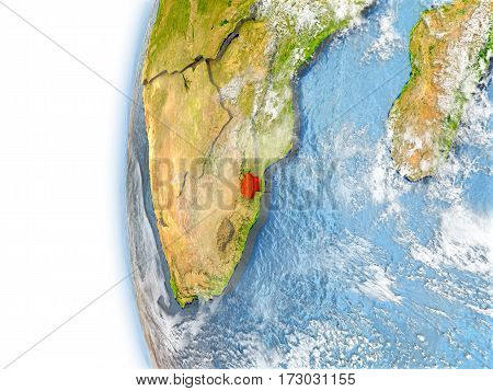 Swaziland On Model Of Earth