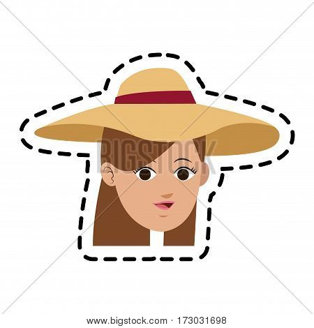 pretty young woman with hat  icon image vector illustration design
