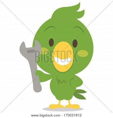 Character parrot with tool vector collection stock