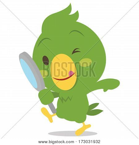 Parrot character with magnifying vector collection stock