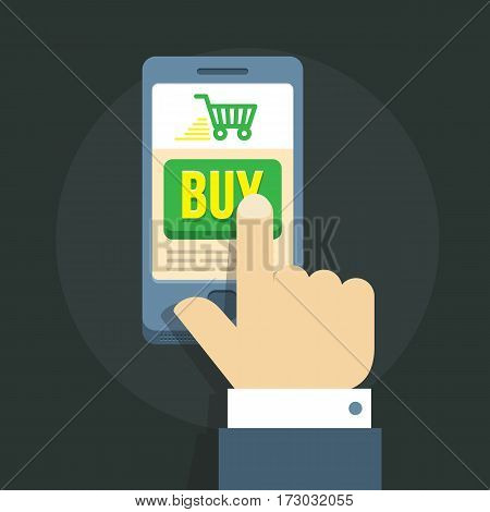 vector illustration of a man s hand, committing shopping spree online via smartphone.