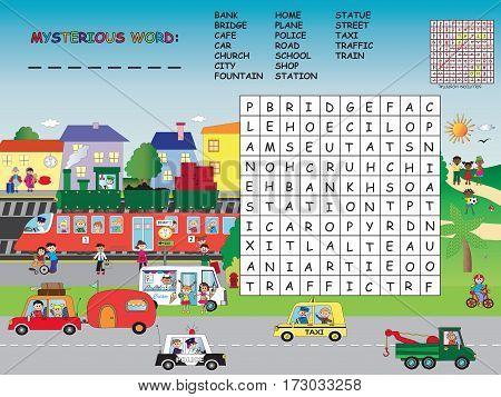 game for children: easy city crossword for children