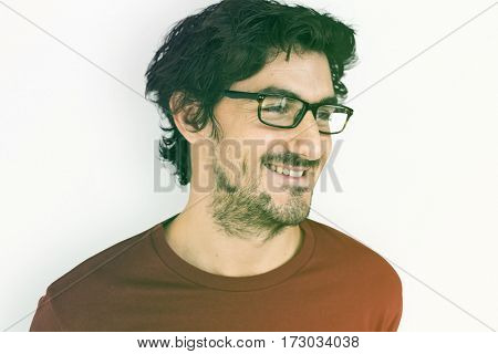 Man Smiling Happiness Face Expression Portrait Studio