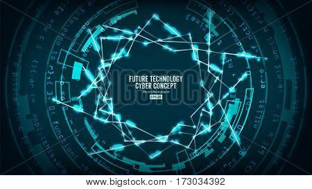 Futuristic Technology Connection Structure. Vector Abstract Background. Future Cyber Concept. Hi Speed Digital Design. Security Network