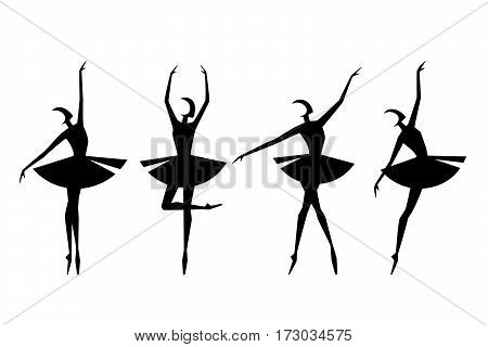Set of ballet dancers silhouettes. Vector element