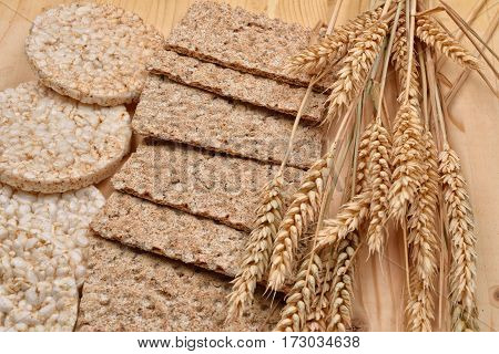 Stack Of Different Kinds Of Products Made From Wheat Expanded Wheat, Diet Crisp Breads And Ears Whea