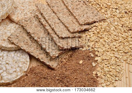 Different Kinds Of Products Made From Wheat, Expanded Wheat, Diet Crisp Breads, Integral Flour And F
