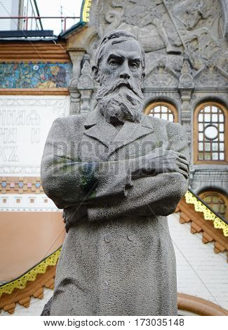 Moscow Russia - Oct 20 2016. Tretyakov monument near State Tretyakov Gallery in Moscow Russia. The Gallery is the foremost depository of Russian fine art in the world.