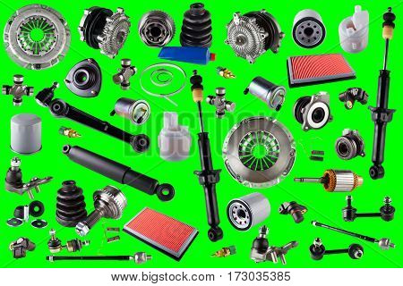 Spare auto parts car on the green background. Set with many isolated items for shop or aftermarket. Chroma key, greenscreen
