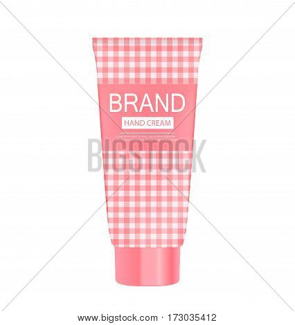 Hand Care Cream Bottle, Tube Template for Ads or Magazine Background. 3D Realistic Vector Iillustration. EPS10
