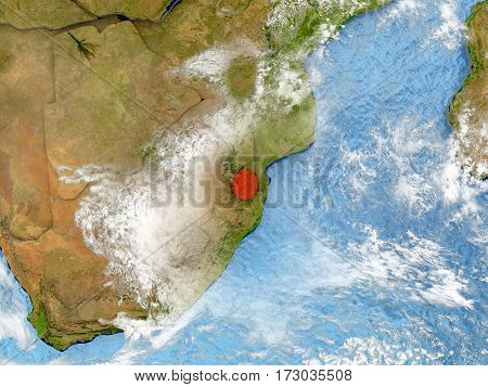 Swaziland On Map With Clouds