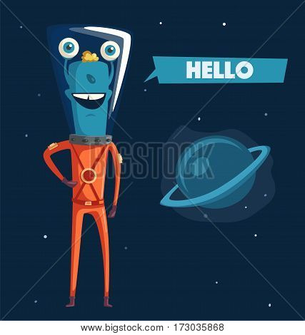 Friendly alien. Cartoon vector illustration. Ufo. Retro poster. Space theme. Funny monster mutant character