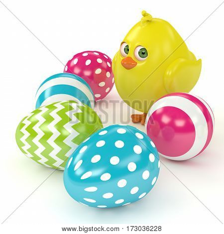 3D Render Of Easter Funny Chick With Painted Eggs