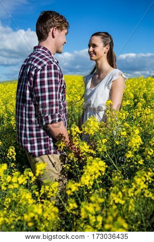 Romantic couple looking at each other in mustard field on a sunny day