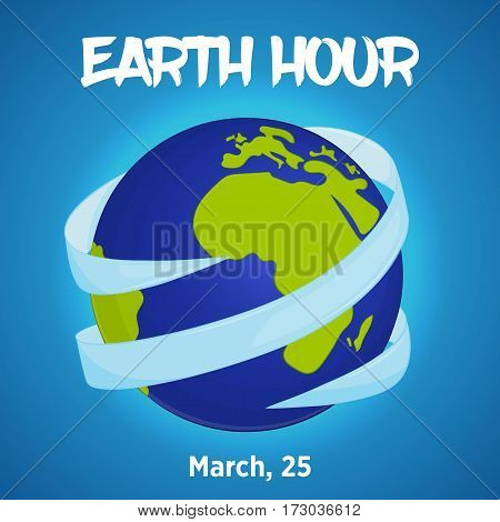 Earth hour background with ribbon around globe in simple cartoon style. Vector illustration for you design card banner poster calendar or placard template. March 19. Holiday Collection.