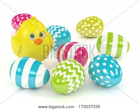 3D Render Of Easter Chick With Painted Eggs
