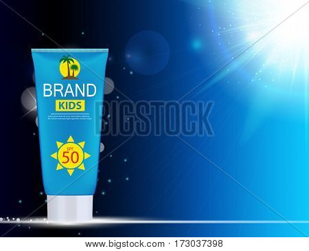 Sun Care Cream Bottle, Tube Template for Ads or Magazine Background. 3D Realistic Vector Iillustration. EPS10