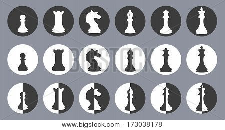 Chess figures vector icons set, chess silhouettes