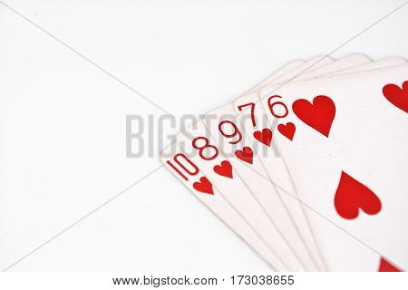 Poker hand rankings symbol set Playing cards in casino: straight Flush on white background, luck abstract, horizontal photo with copyspace