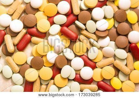 Big heap of pills with various color and shape