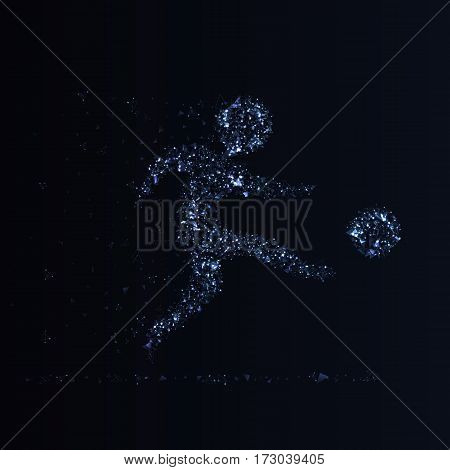 Football championship banner. Soccer player kicks the ball. Vector illustration of abstract footballer silhouette made of polygonal elements glowing dots and particles for your design