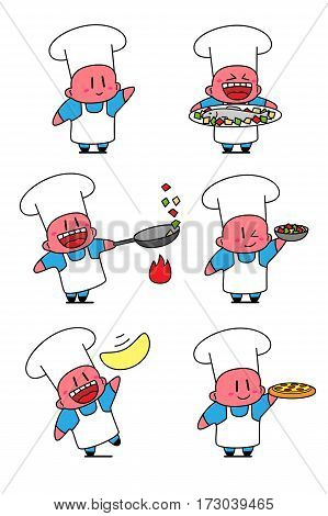 Set of kawaii cook in various situations. Chef cooking fish, fries vegetables, tossing pizza dough. Isolated on white background.