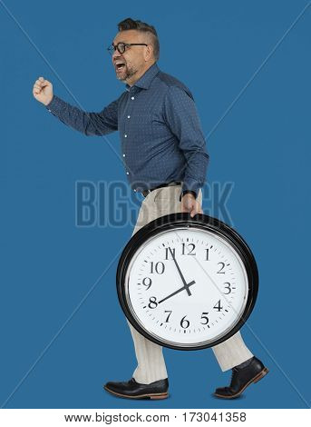 Caucasian Man Rushing Clock
