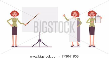 Set of young smiling female typical office worker in a business smart casual wear, standing near empty whiteboard, copyspace, presentation of information, full length, isolated, white background