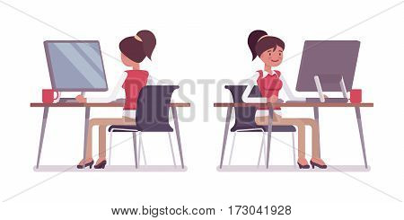 Set of smiling young female typical office worker in a business smart casual wear, sitting at office desk, working at the monoblock, looking at screen, rear and front view, isolated, white background