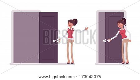 Set of happy young female typical office worker in a business smart casual wear opening and closing door, welcoming clients, inviting to enter the office, full length, isolated, white background