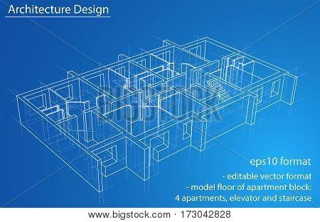 3D rendering vector illustration. Model floor of apartment block