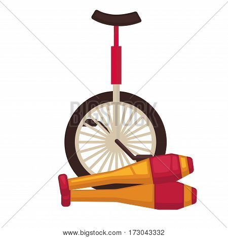 Circus juggling and equilibristics tools. Juggle clubs and monocycle unicycle bike. Vector flat icons